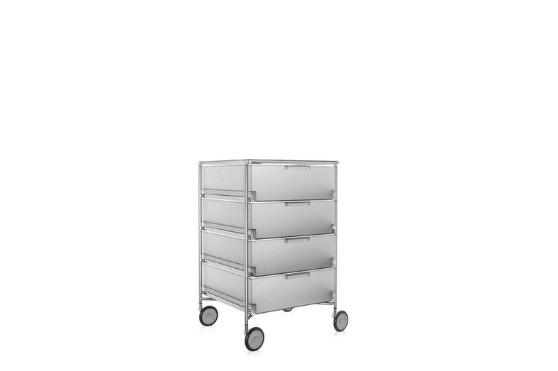 2.  Mobil storage   The Mobil modular storage system won a Compasso d'Oro award in 1994. Like the Componibili before it, Mobil broke new ground with the combination of a finely detailed metal frame with a translucent plastic drawer system and also created a lighter feel for office furniture.
