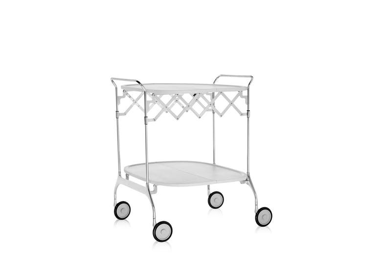 5. Gastone trolley The Gastone is both elegant and practical. The folding trolley has a varnished plastic top surface and chromed steel support, and once closed, its only 229 mm deep so easily folded and stored.