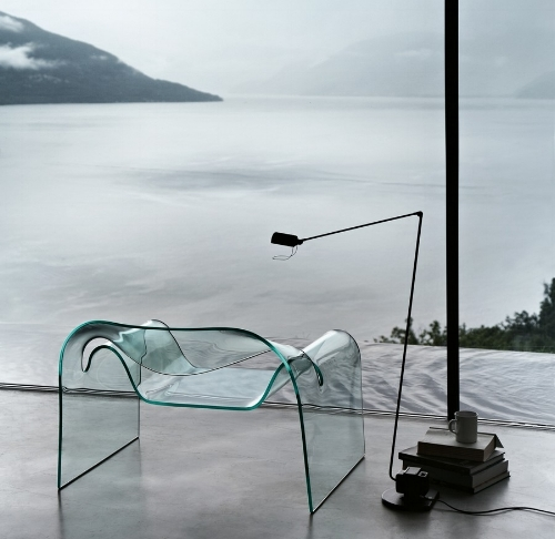 The celebrated Ghost chair manufactured by Fiam and designed by Cini Boeri.