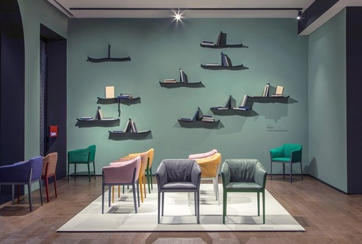 The Baleno shelving system and Cotone armchair by Ronan and Erwan Bouroullec for the Cassina Contemporary collection.