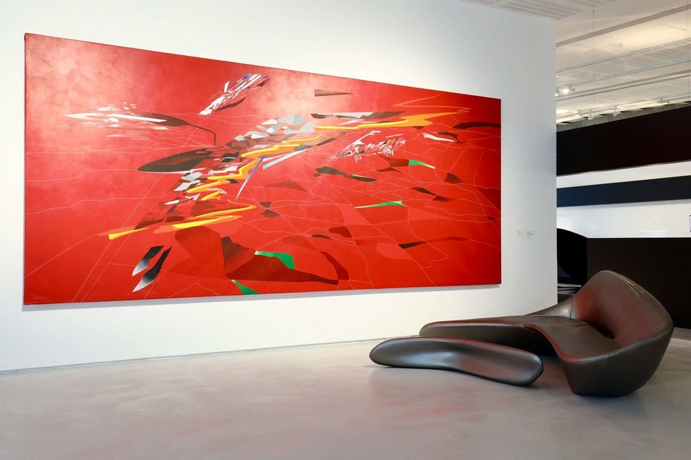 The Moon System featured in the 'Zaha Hadid in Italy' exhibition, along with models, conceptual renderings and deconstructivist painting by Zaha Hadid. Photo Musacchio & Ianniello. Courtesy Fondazione MAXXI.