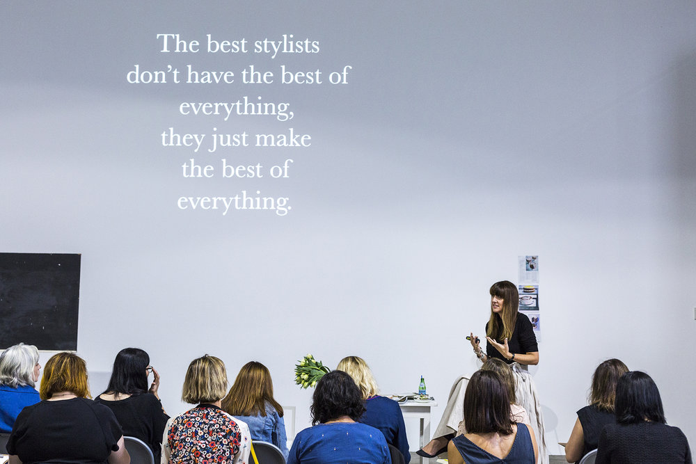Megan Morton shares the theory and science behind interior styling during a masterclass at The School in Sydney.