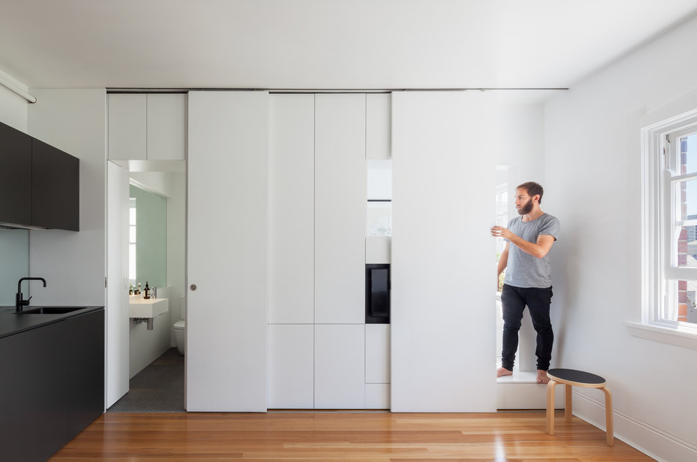 Brad Swartz's 27 square metre Darlinghurst Apartment is a testing ground for living small without the compromise. Photo by Katherine Lu.