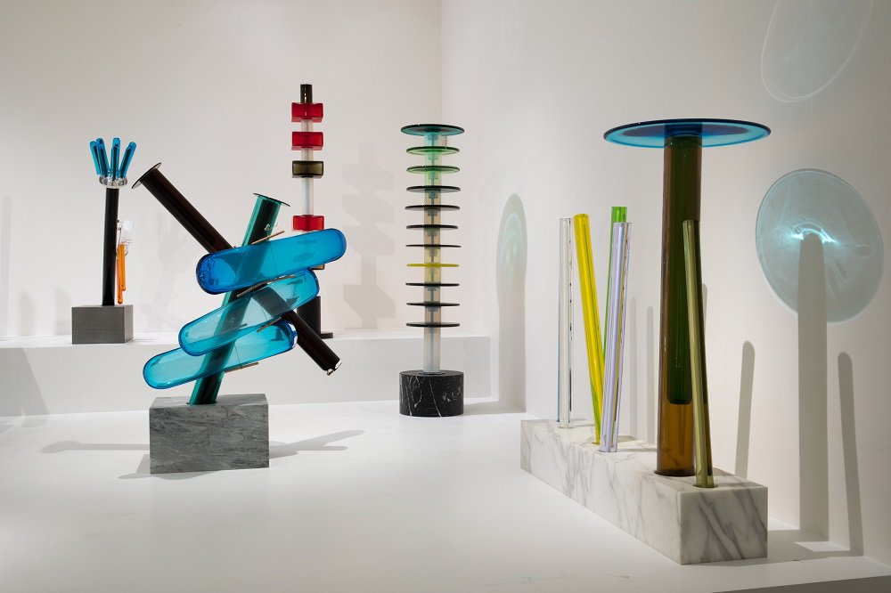 Sottsass in glass and crystal, curated by Luca Massimo Barbero at Le Stanze del Vetro in Venice.