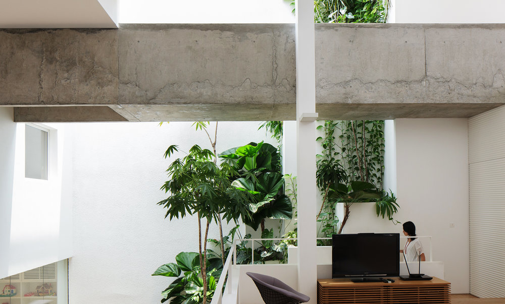 The Terrace House by Formwerkz integrates planting internally and on the roof allowing the house to breathe with nature.
