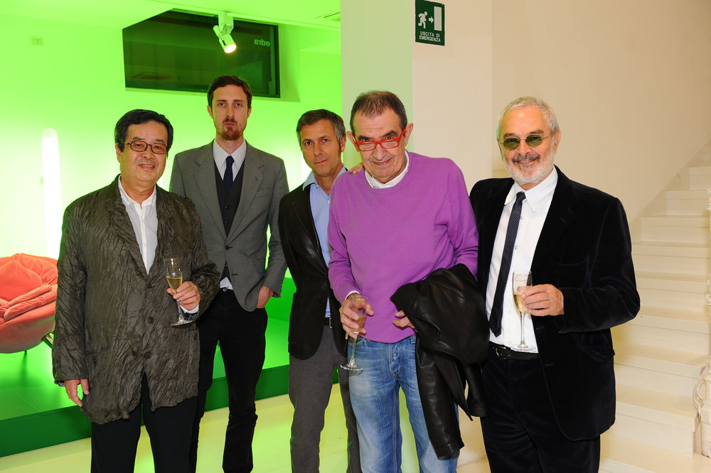 Australian designer Trent Jansen (second left) was awarded the Space+Edra Deisgn Residency and spent two months at Edra HQ working with Massimo Morozz and the design team – photographed with Masanori Umeda, Humberto Campana, Massimo Morozzi and Francesco Binfaré at the 2012 Milan Furniture Fair.