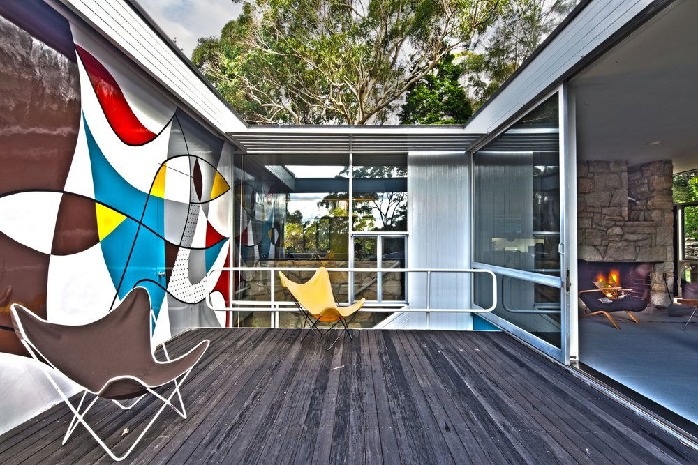 The verandah provides light and airflow to the house and includes an eye-catching mural designed and painted by Harry Seidler. Photograph copyright Phyllis Wong for Sydney Living Museums.