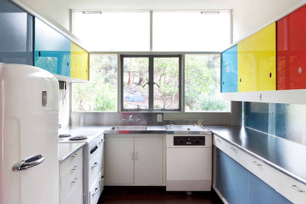 The kitchen at the Rose Seidler House included the latest technologies in the 1950s – a dishwasher and waste disposal unit. Photograph copyright Jamie North for Sydney Living Museums.