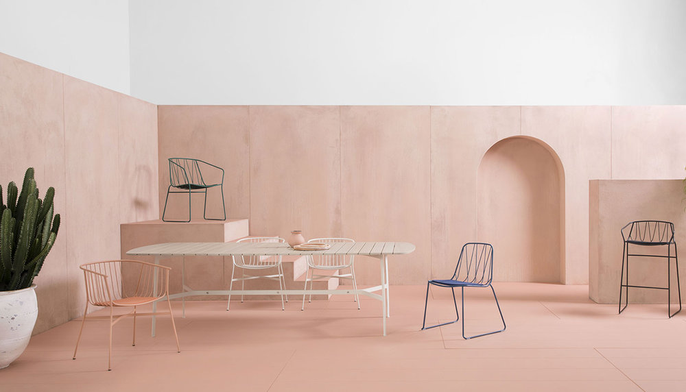 The Jeanette chairs and Eileen table are part of SP01's outdoor collection designed by Tom Fereday. Photo Jason Busch.