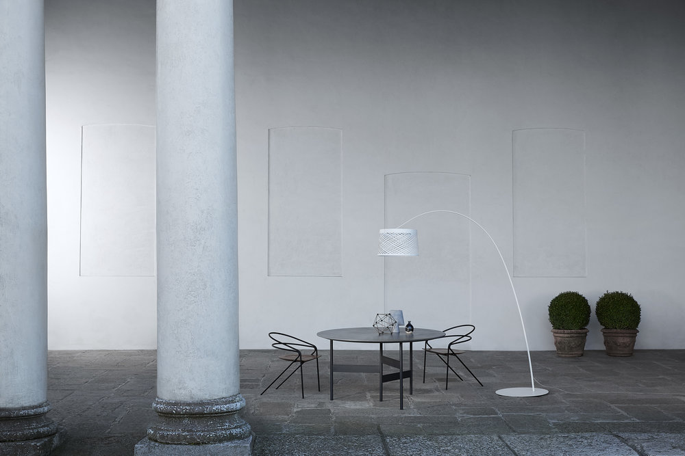 The Twiggy Grid by Foscarini in the courtyard of the Palazzo Litta.