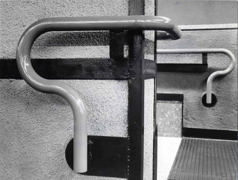 The Milanese Subway designed by  Albini  and Helg won the La Rinascente-Compasso d'Oro Award in 1964 and includes the now famous curved handrail detail also seen in Albini's furniture design. Photo © Fondazione Franco Albini.