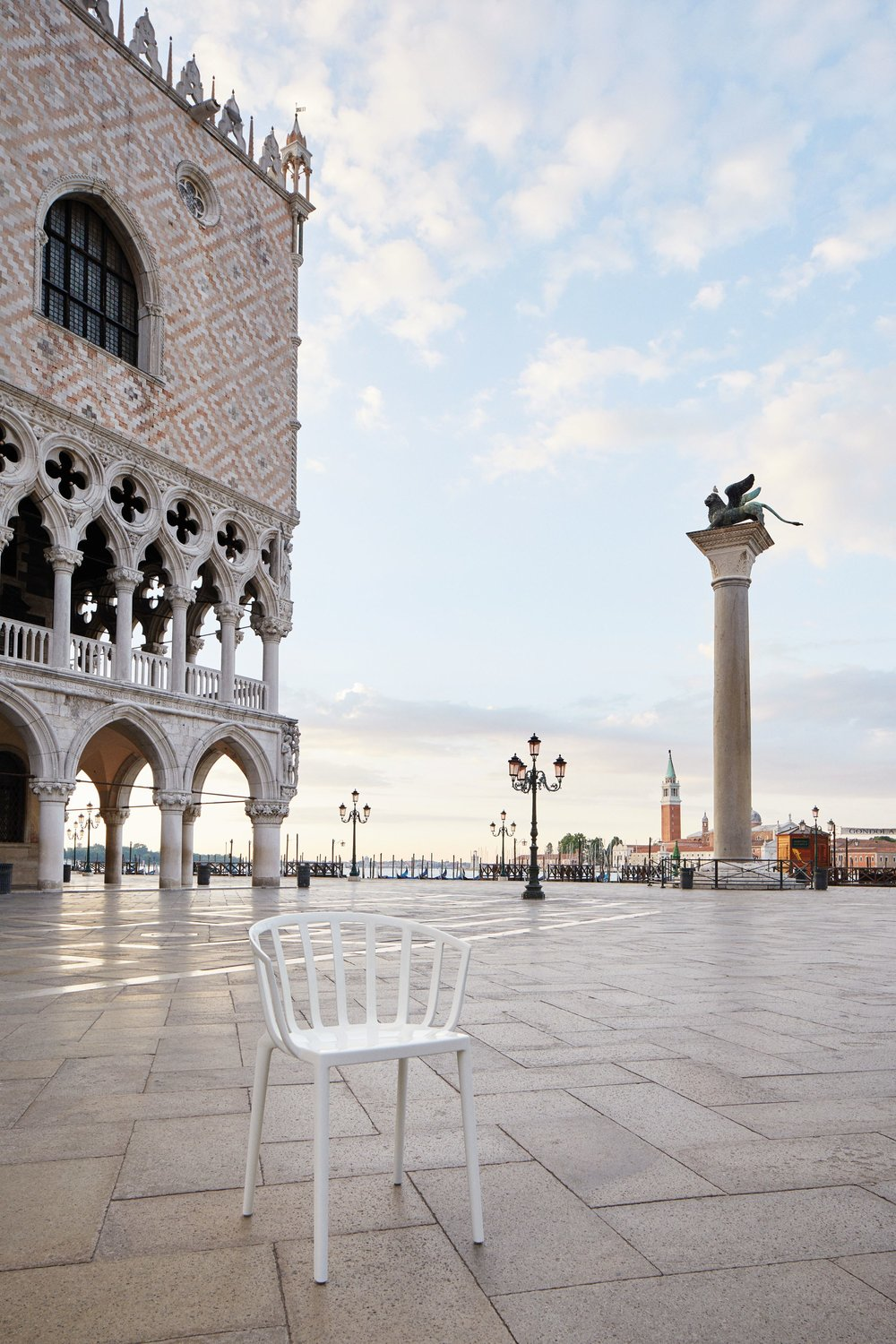 Venice's iconic St Mark's Square at dusk when the crowds have drifted off for dinner.