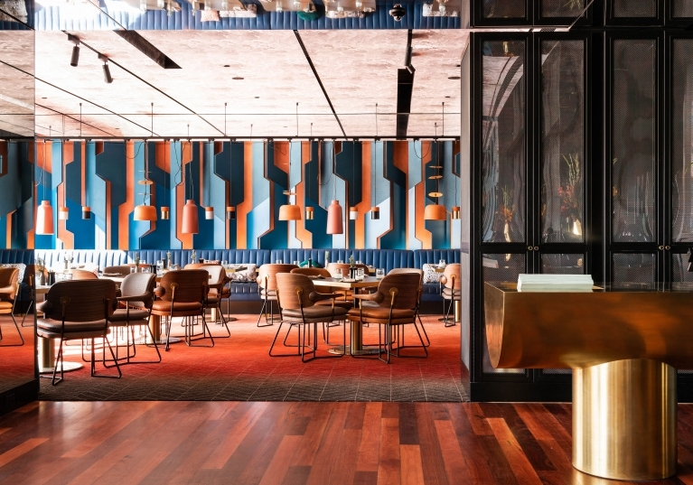 The QT Melbourne and its bold use of colour, pattern and texture evokes the Italian rationalist masters of the 1930s who focused on glamour and modernity.