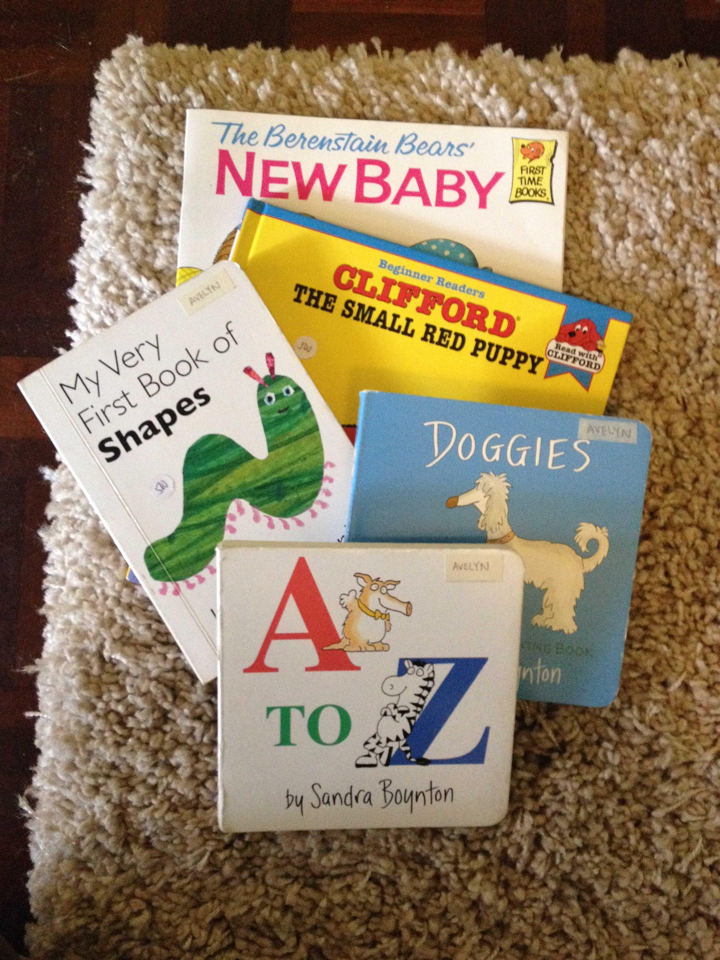 These are the books we received from the toddler book exchange this month. Mikayla's favorite is the shape book.
