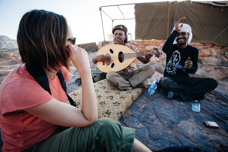 Getting serenaded by Bedouin guides. Petra, Jordan.