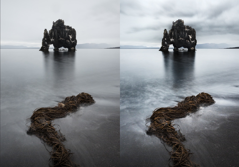 Retouched version on left. Composited and refined version on right.