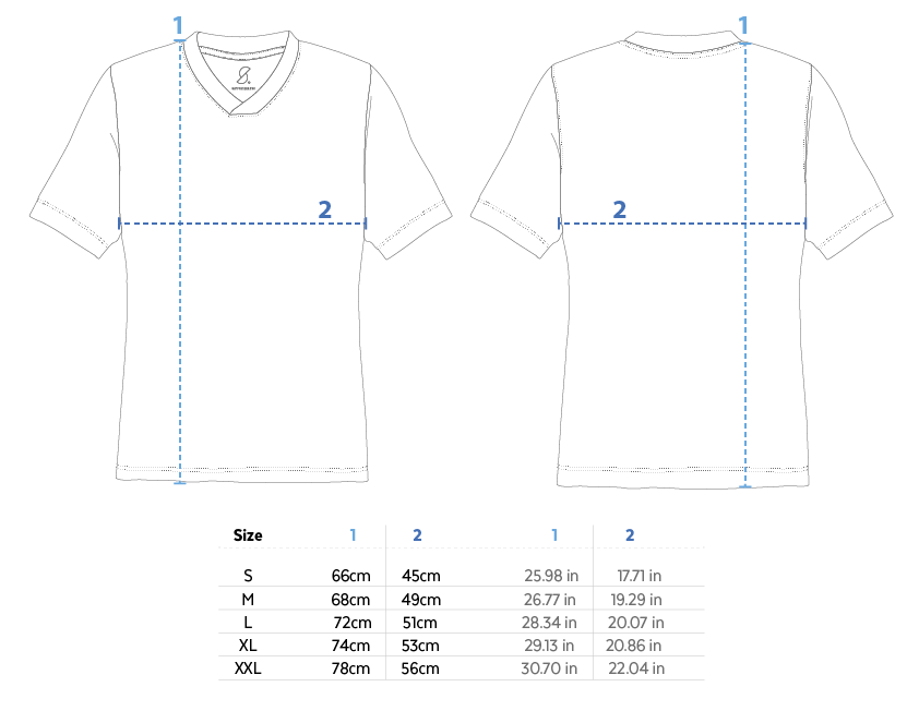Supporters V neck jersey measures