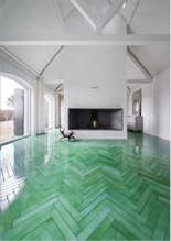 green herringbone