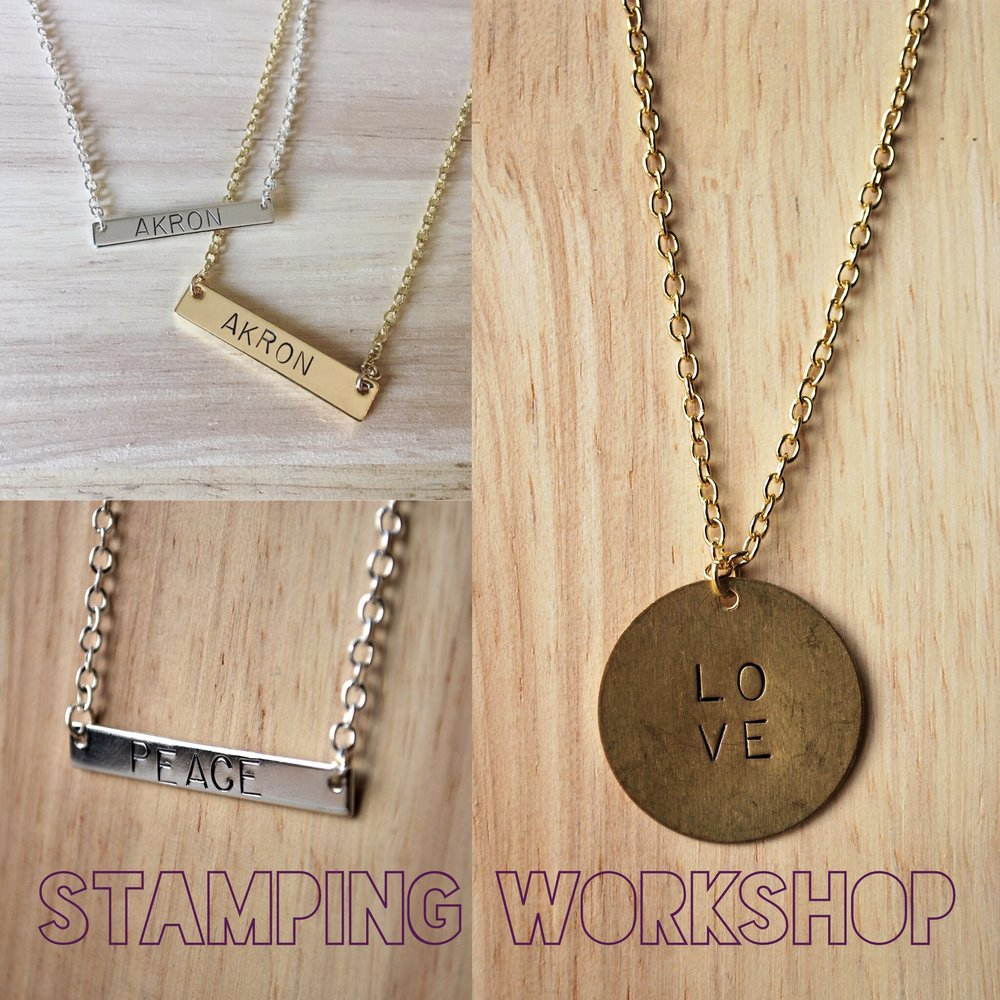 SATURDAY 11:30AM-1:30PM  Create stamped necklaces for someone special or yourself! Rachel will supply the materials and you bring the creativity. You will create one stamped necklace of your choice and learn a new skill.  COST: Included in $75 Day Pass or $40   CLICK THE PICTURE TO REGISTER