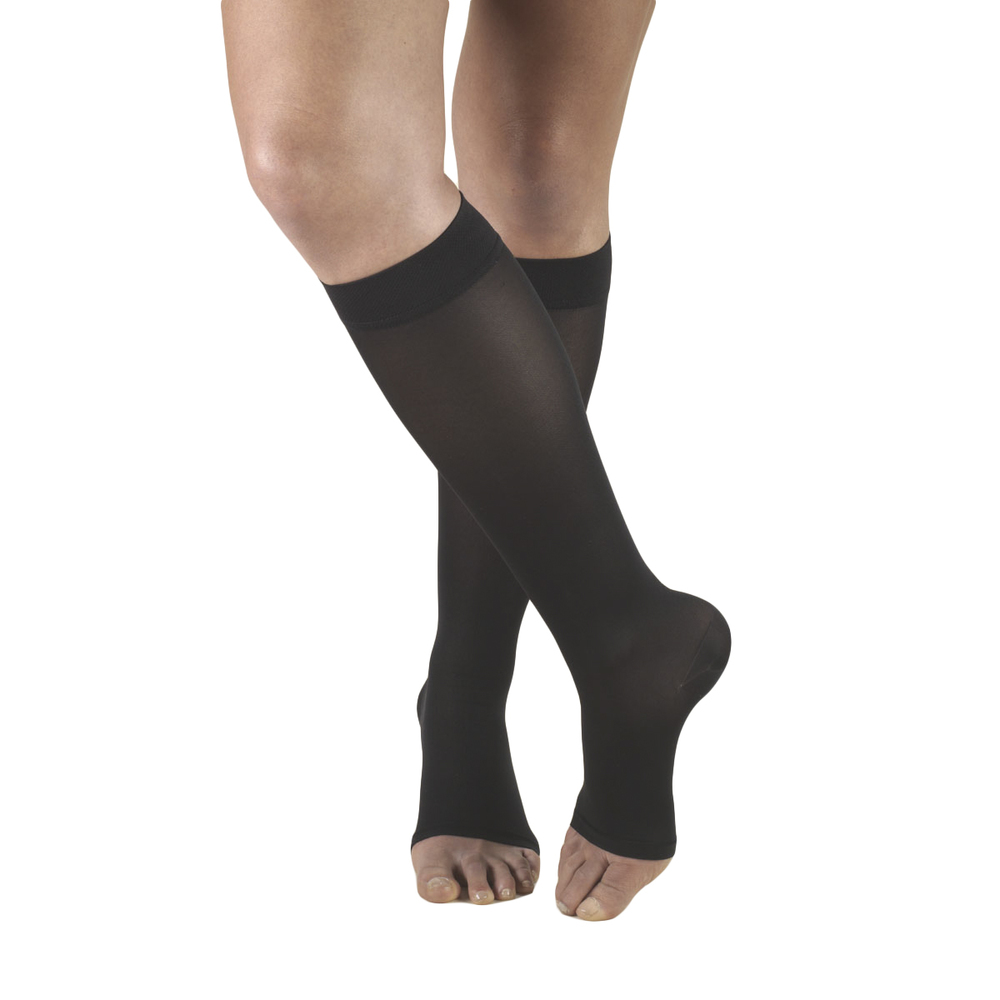 Truform, 0371, 15-20mmHg, Opaque, Knee High, Open Toe, Black, Compression Stockings