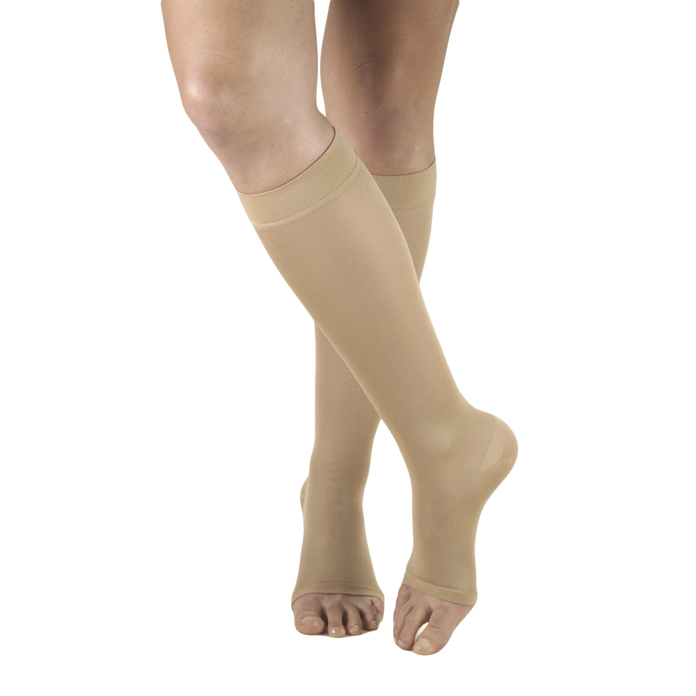 Truform, 0371, 15-20mmHg, Opaque, Knee High, Open Toe, Beige, Compression Stockings