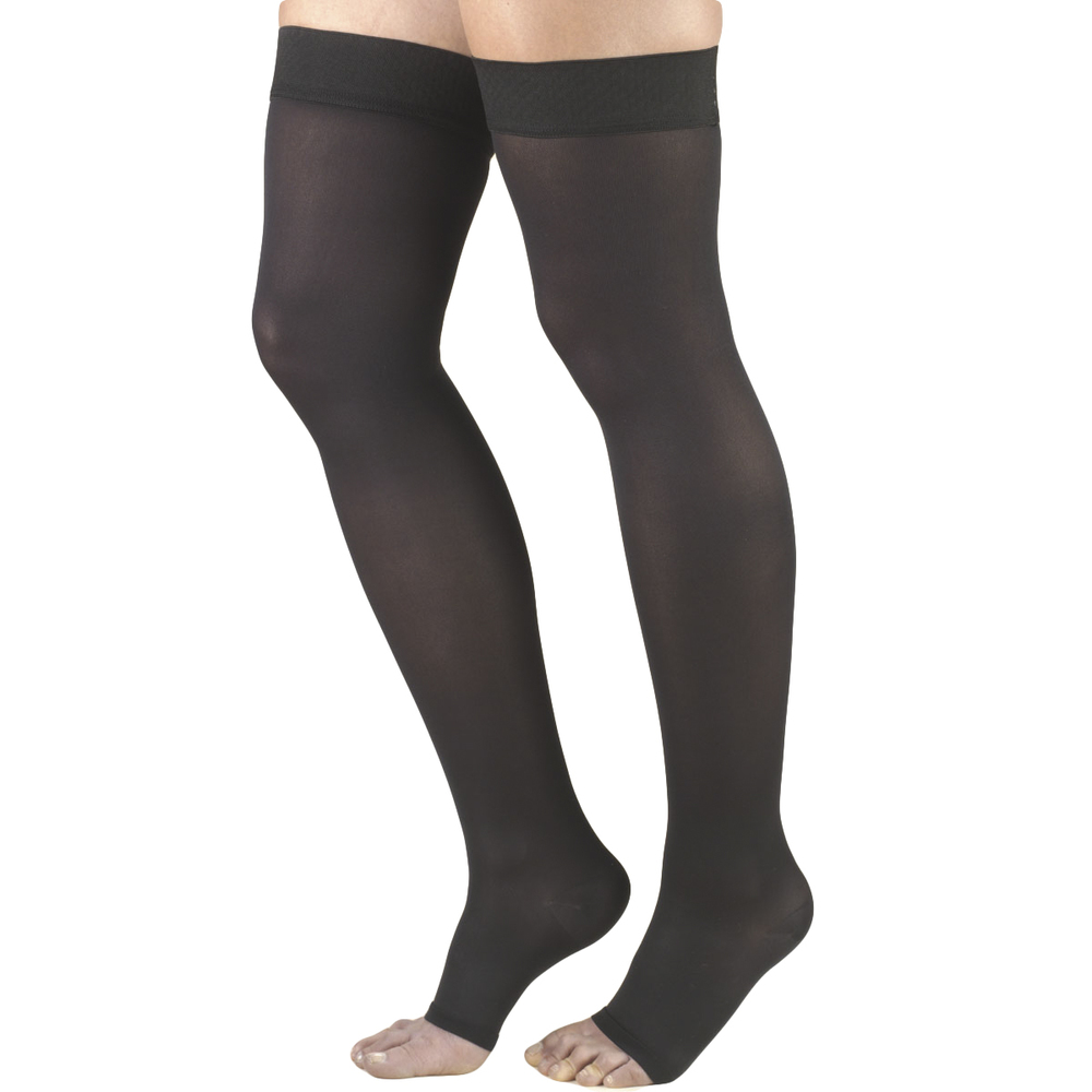 Truform, 0362, 20-30 mmHg, Opaque, Thigh High, Open Toe, Black, Compression Stockings