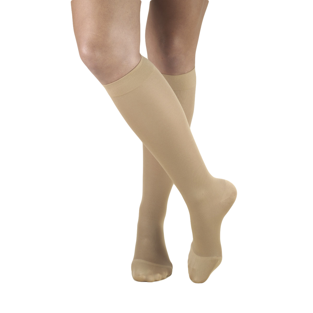 Truform, 0363, 20-30 mmHg, Opaque, Knee High, Closed Toe, Beige, Compression Stockings