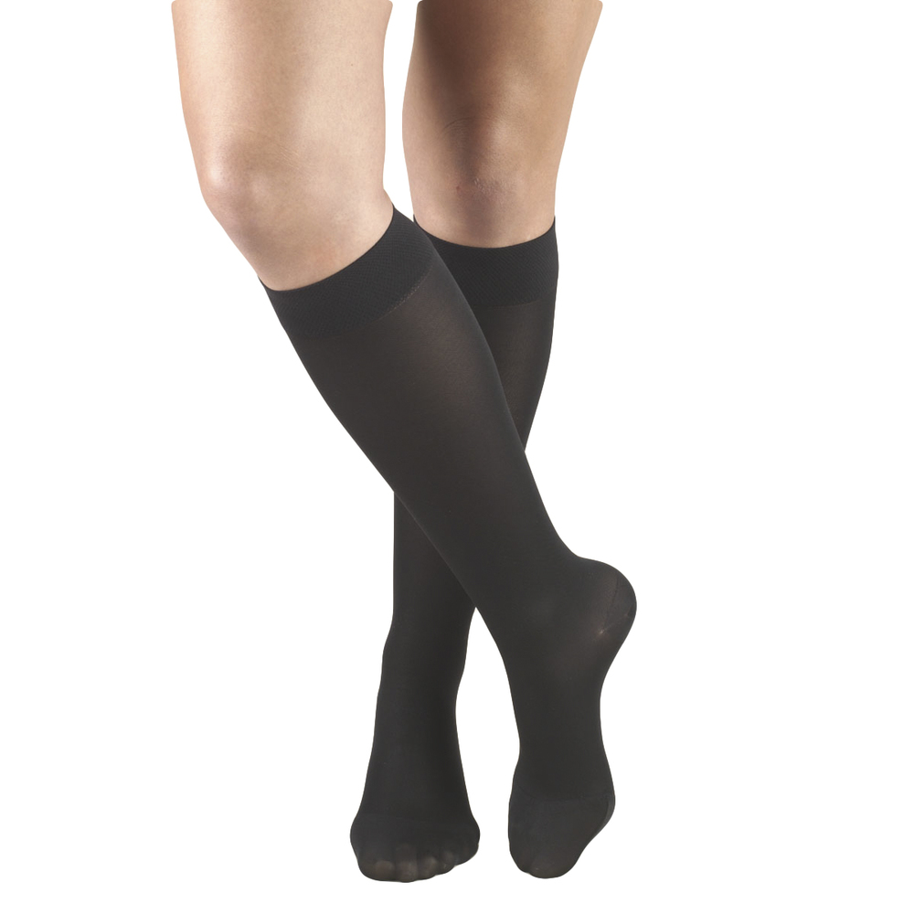 Truform, 0363, 20-30 mmHg, Opaque, Knee High, Closed Toe, Black, Compression Stockings