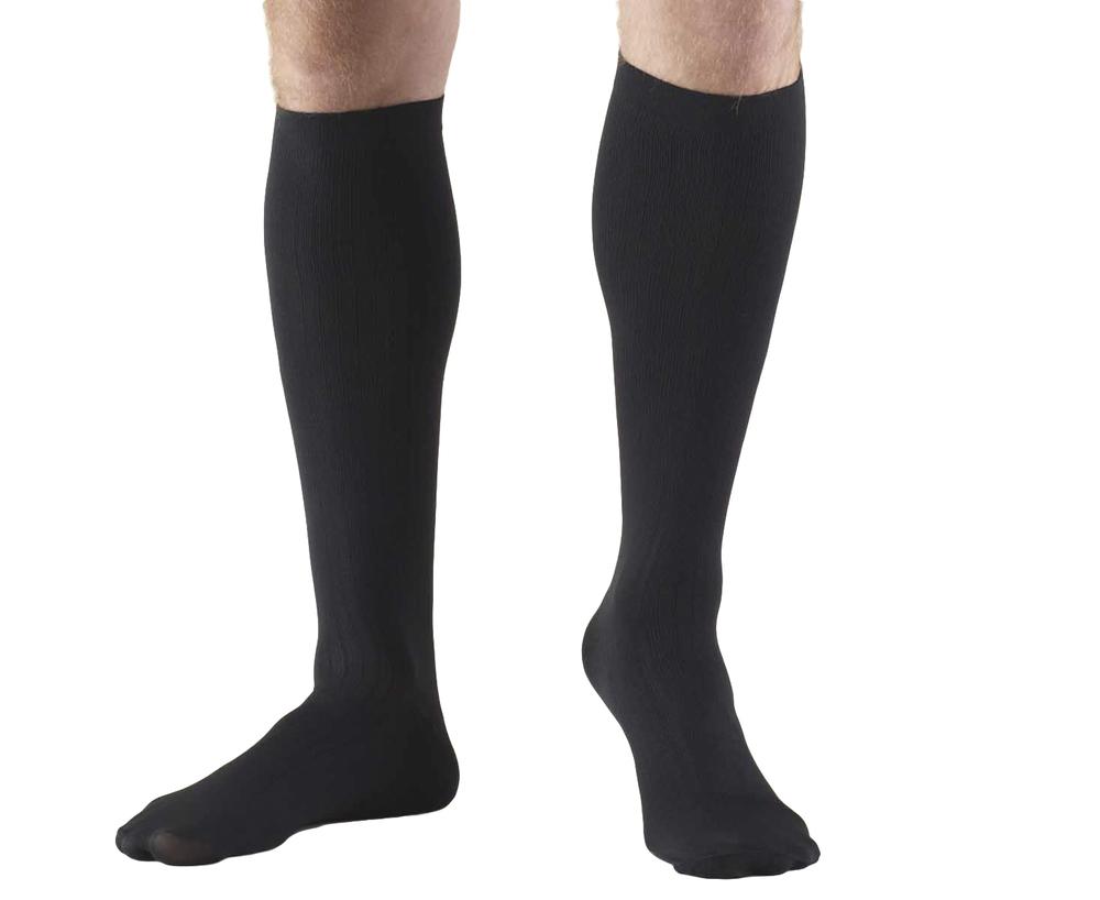 Truform, 1942, 8-15 mmHg, Compression, Men's, Knee High, Dress Sock, Black