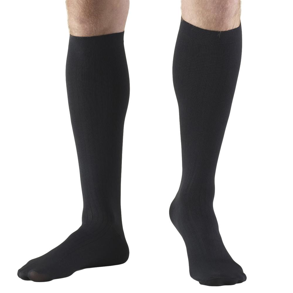 Truform, 1954, 30-40 mmHg, Compression, Men's, Knee High, Dress Sock, Black