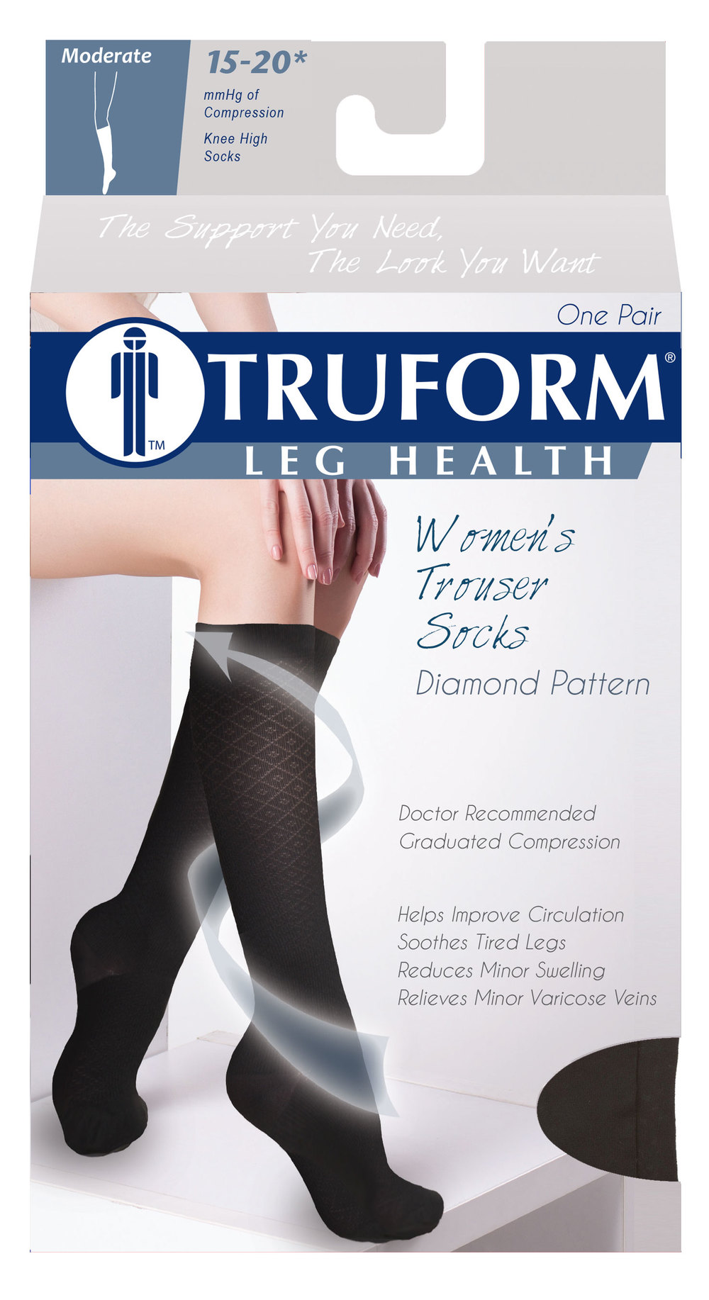 Truform, 1976, Compression, 15-20 mmHg, Diamond Pattern, Package