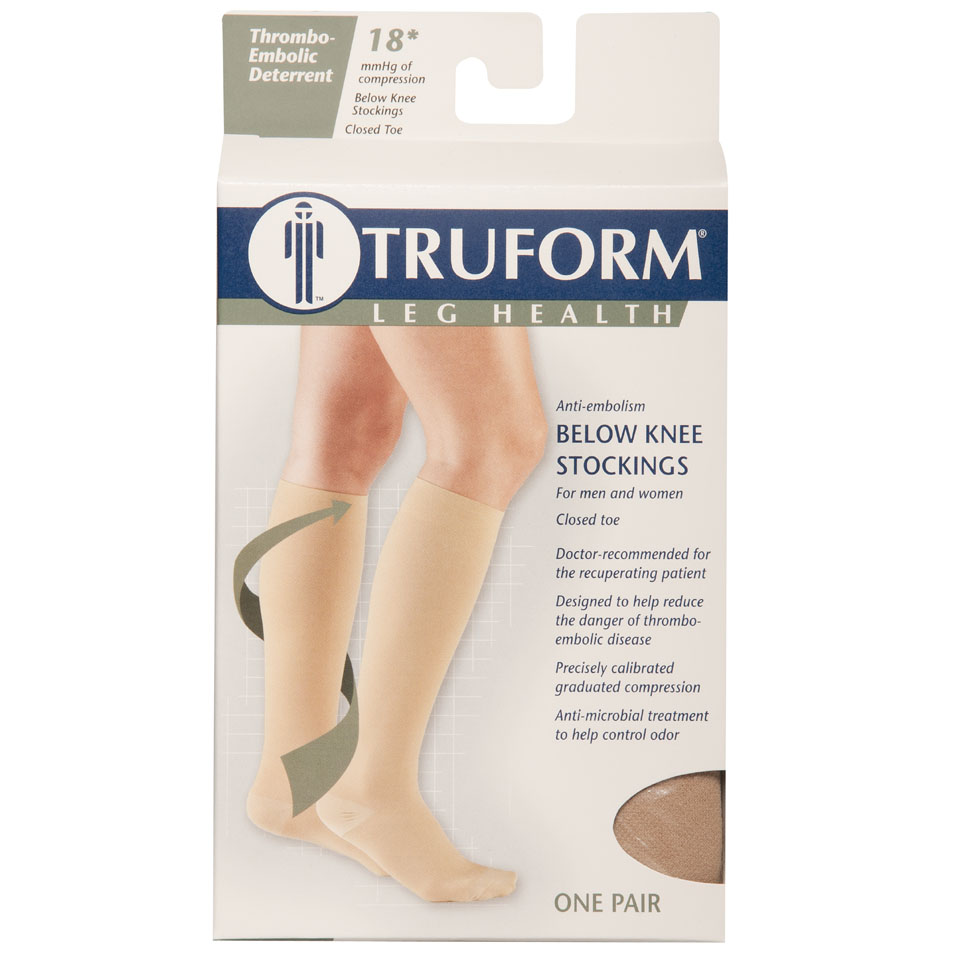 Truform, 8808, 18 mmHg, Anti-Embolism, Closed Toe, Knee High, Stockings, Package