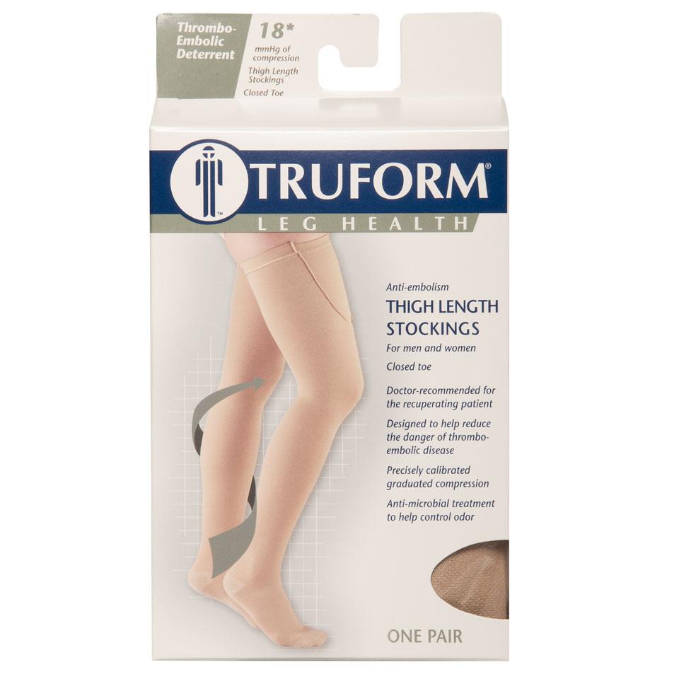 Truform, 8810, 18 mmHg, Anti-Embolism, Closed Toe, Thigh High, Stockings, Packaging