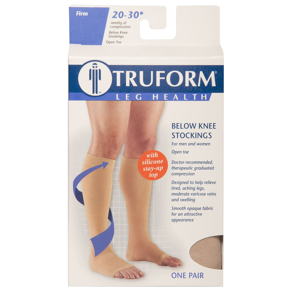 Truform, 0864, 20-30 mmHg, Silicone Dot Top, Open Toe, Knee High, Stockings, Package