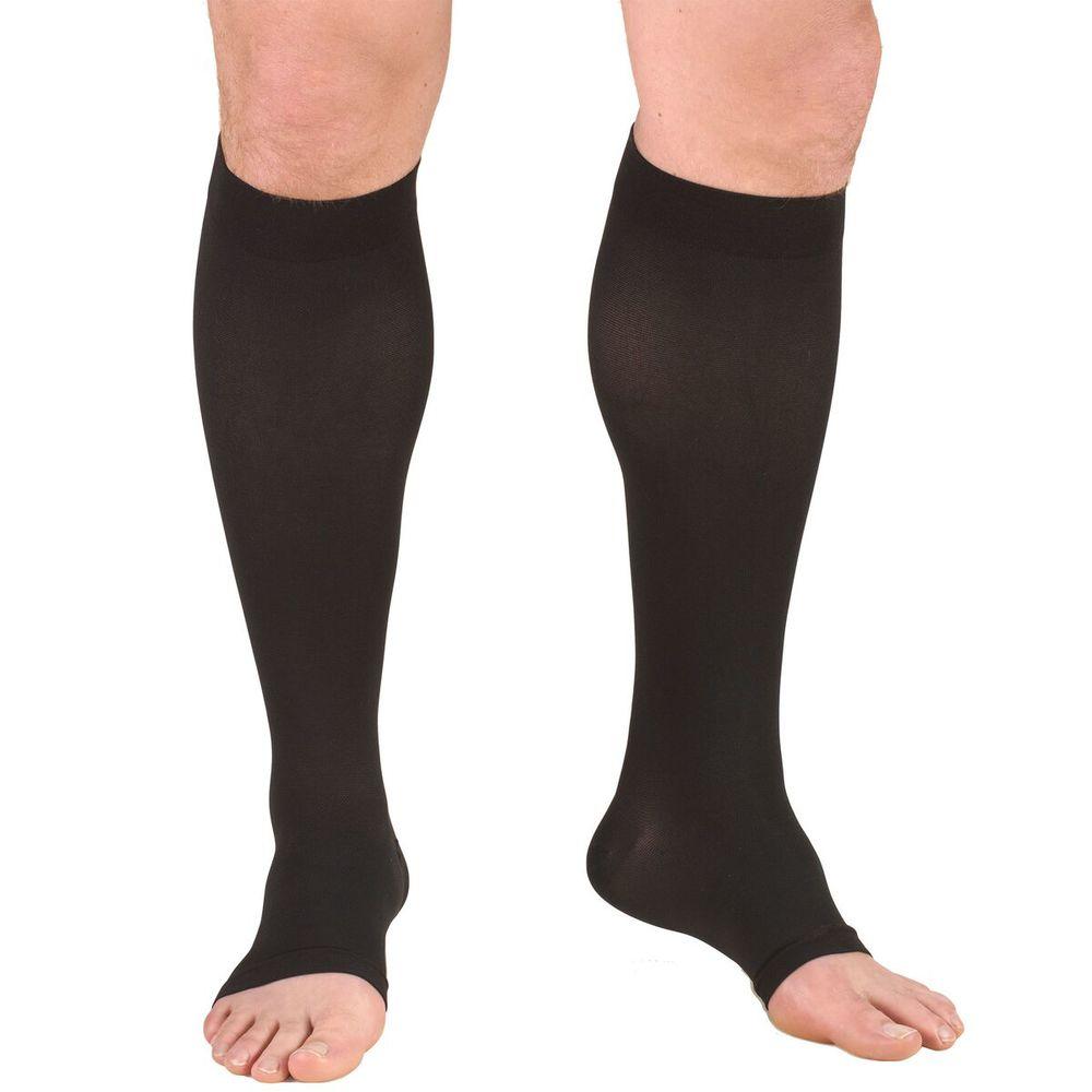 Truform, 0865s, 20-30 mmHg, Soft Top, Open Toe, Knee High, Short Length, Stockings, Black