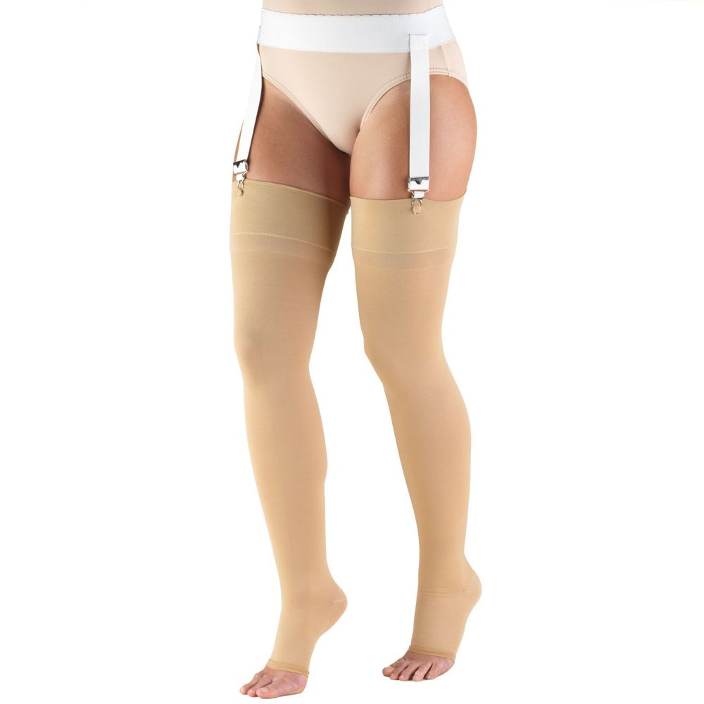 Truform, 0866, 20-30 mmHg, Thigh High, Soft Top, Open Toe, Stockings, Beige