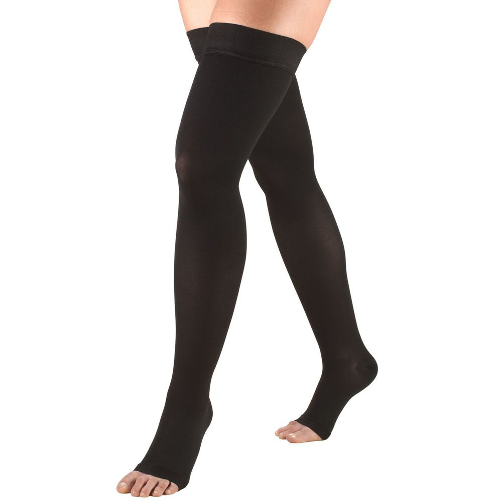 Truform, 0868, 20-30 mmHg, Thigh High, Silicone Dot Top, Open Toe, Stockings, Black