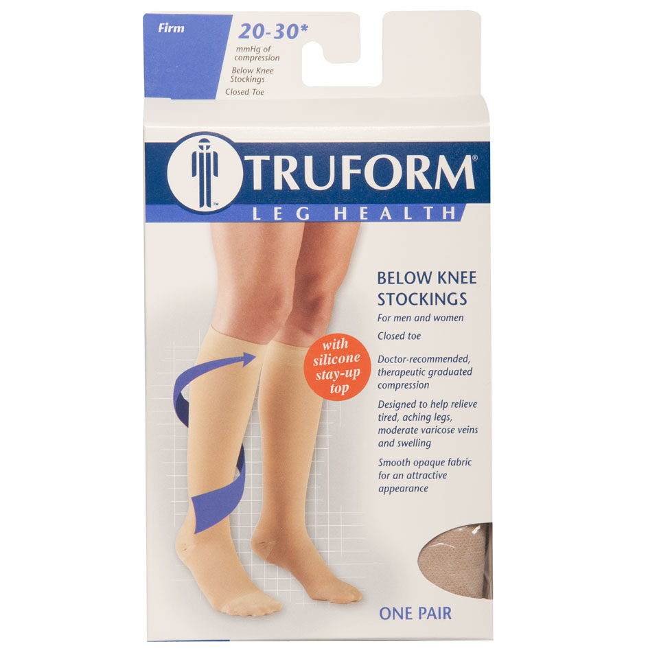 Truform, 8864, 20-30 mmHg, Silicone Dot Top, Closed Toe, Knee High, Stockings, Package