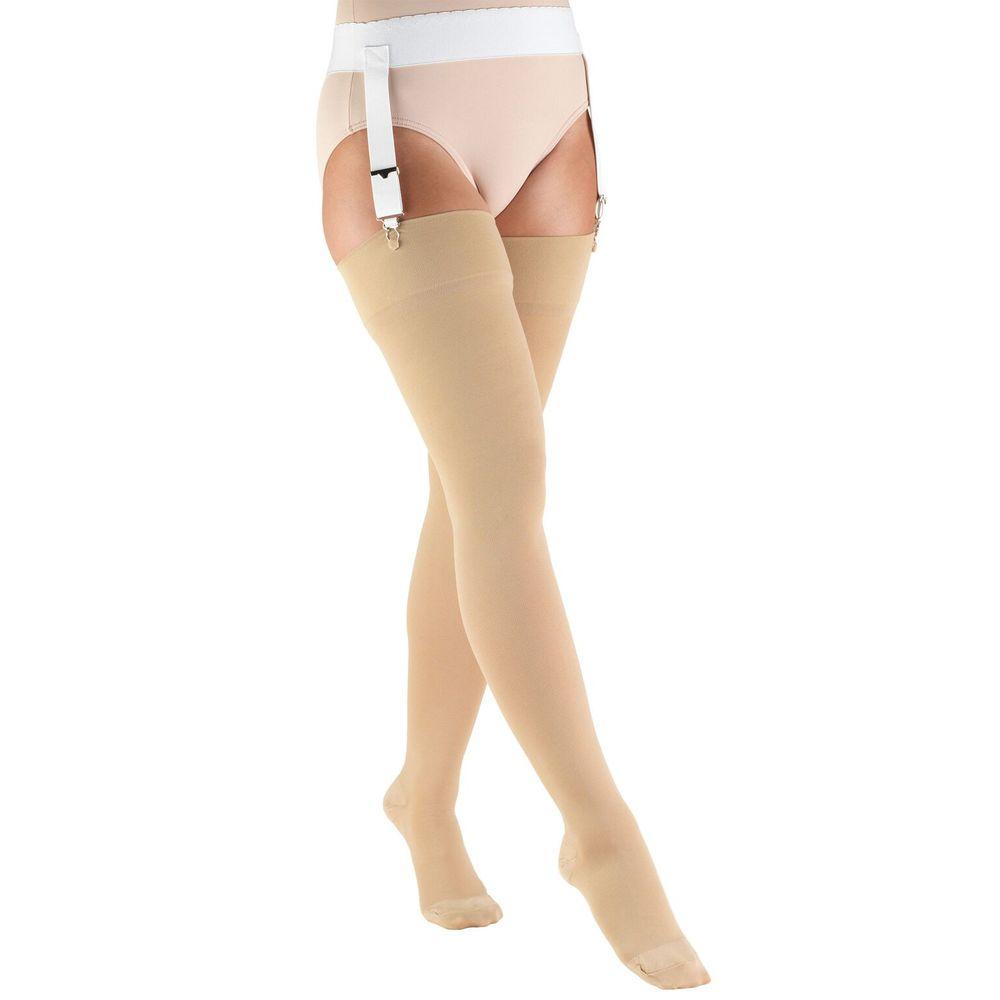 Truform, 8866, 20-30 mmHg, Thigh High, Soft Top, Closed Toe, Stockings, Beige