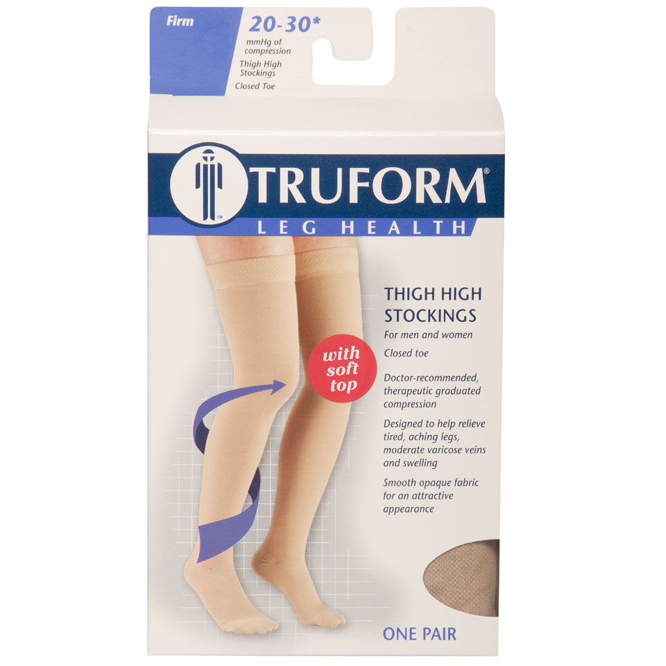 Truform, 8866, 20-30 mmHg, Thigh High, Soft Top, Closed Toe, Stockings, Package