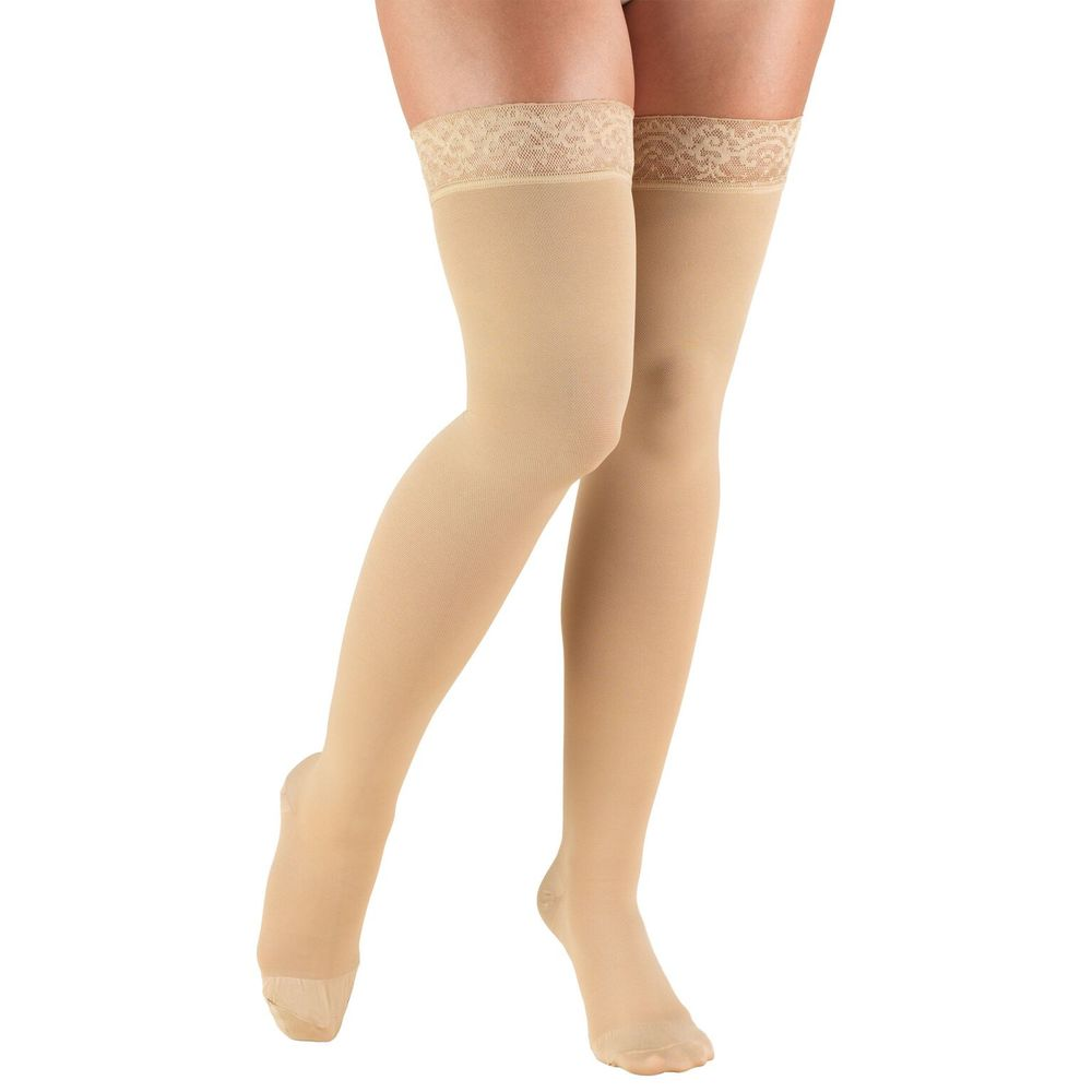 Truform, 8867, 20-30 mmHg, Thigh High, Silicone Lace Top, Closed Toe, Stockings, Beige