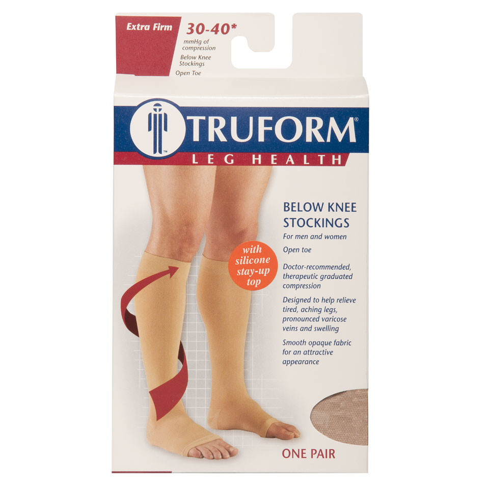 Truform, 0844, 30-40 mmHg, Knee High, Silicone Dot Top, Open Toe, Package