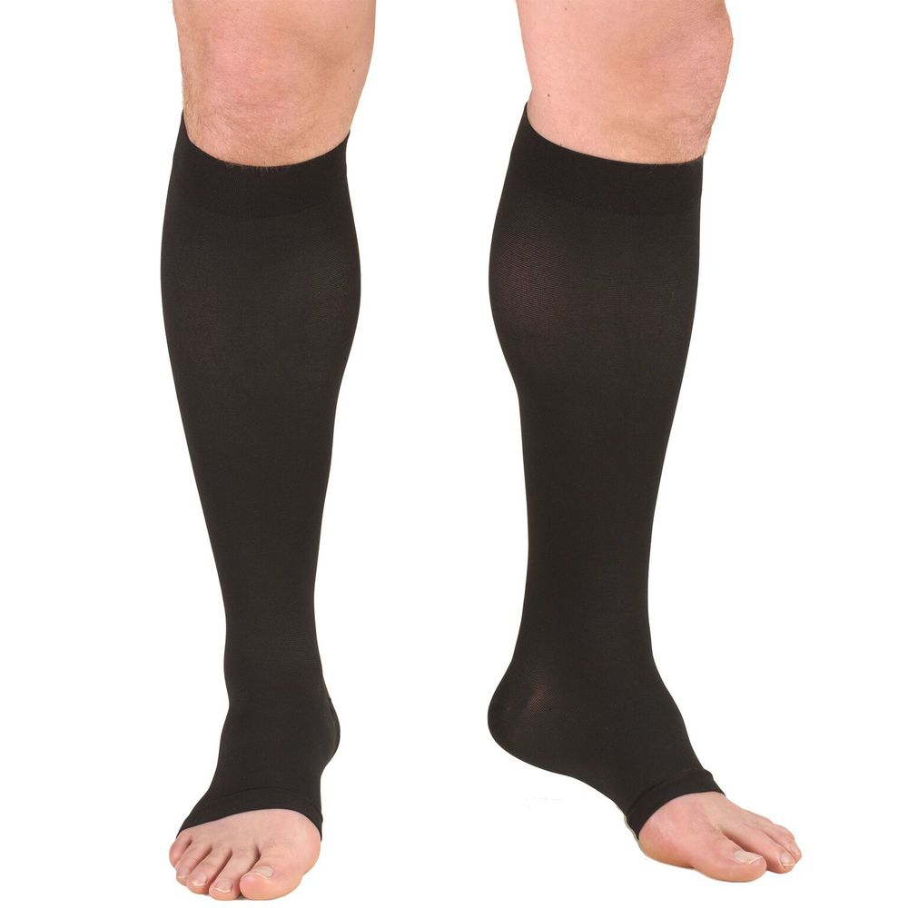 Truform, 0845, 30-40 mmHg, Knee High, Soft Top, Open Toe, Black
