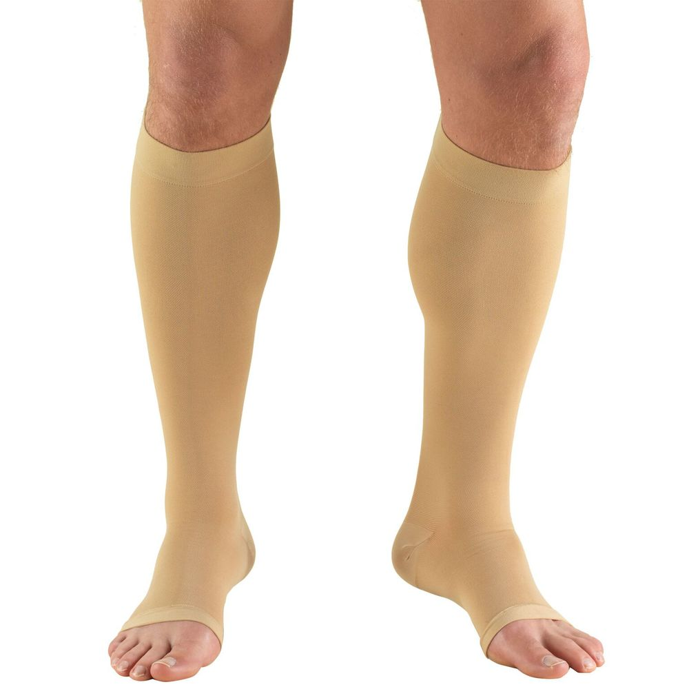 Truform, 0845, 30-40 mmHg, Knee High, Soft Top, Open Toe, Beige