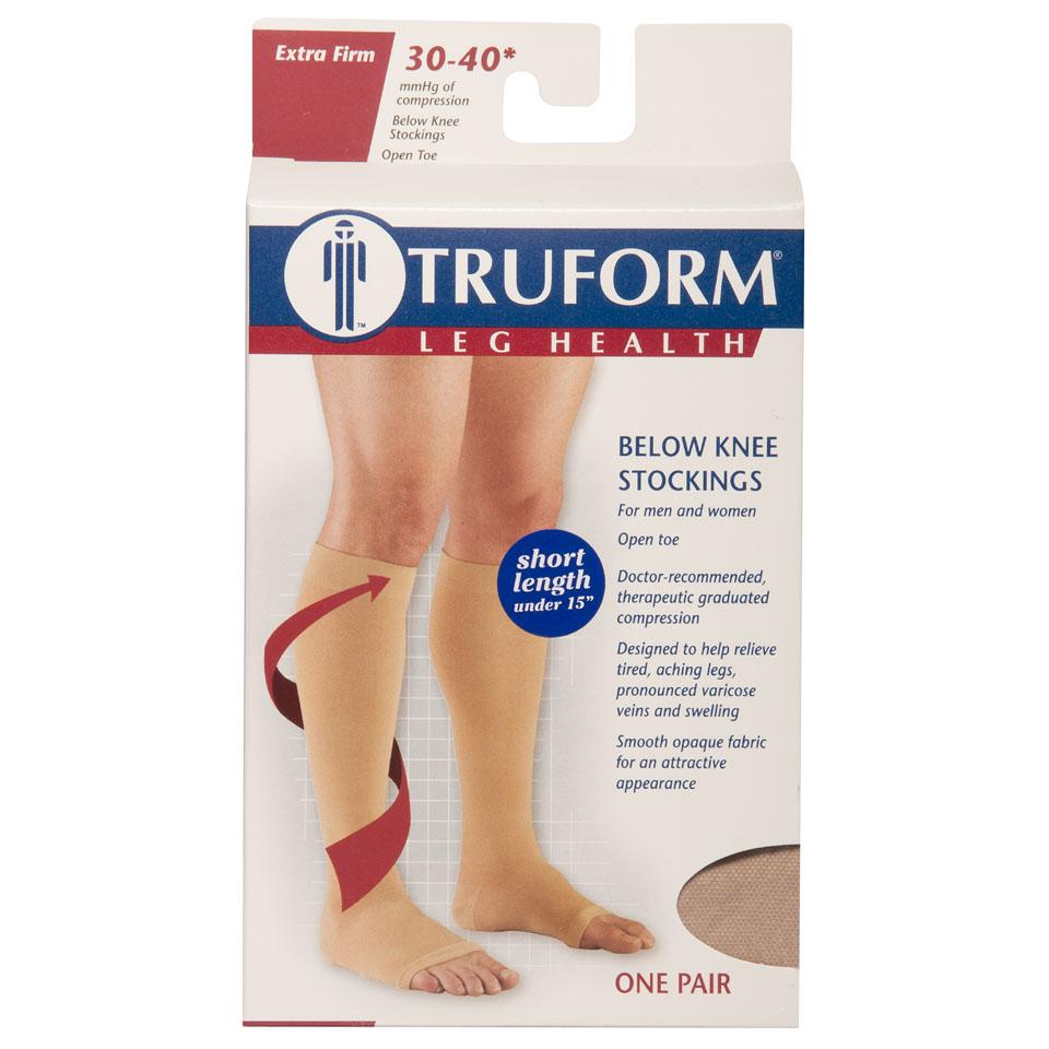 Truform, 0845s, 30-40 mmHg, Knee High, Soft Top, Short Length, Open Toe, Package