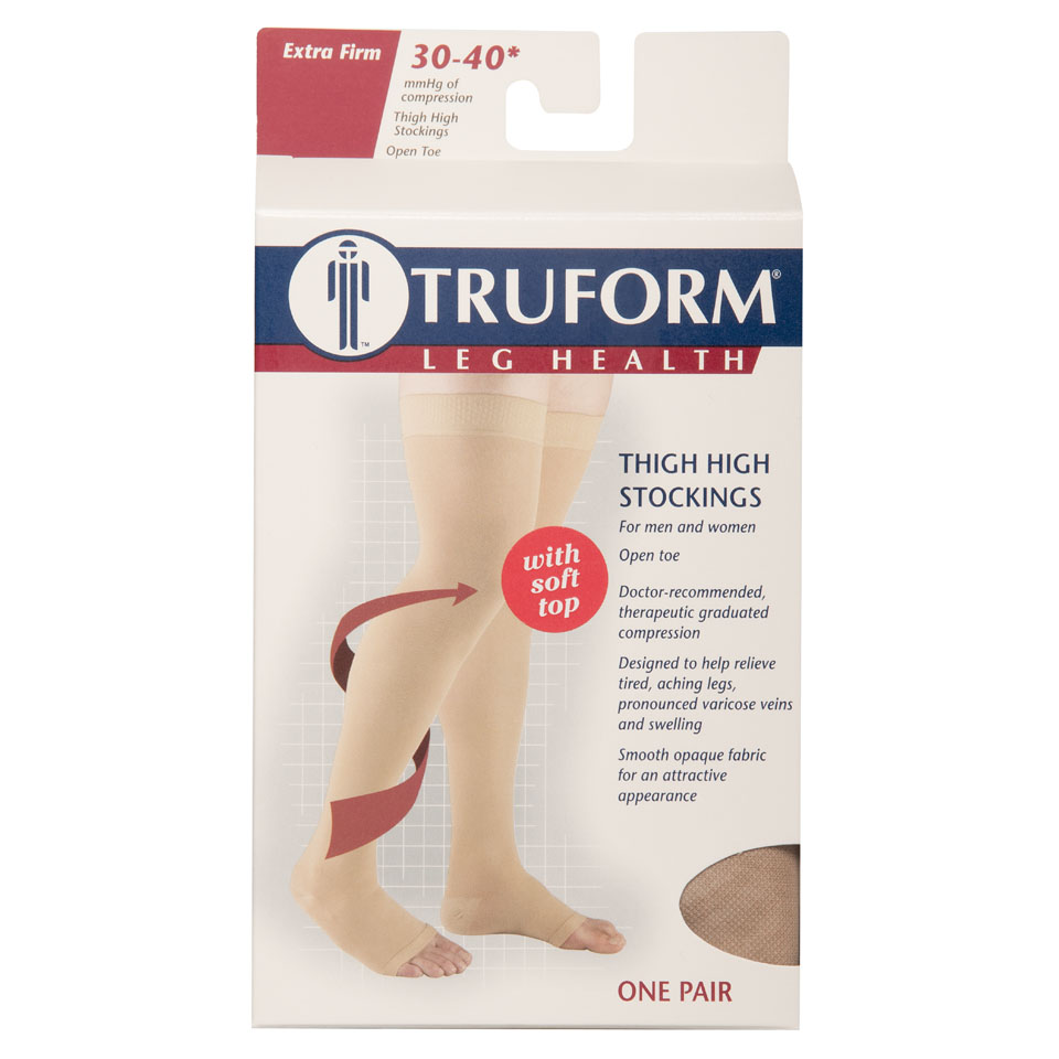 Truform, 0846, 30-40 mmHg, Thigh High, Soft Top, Open Toe, Package