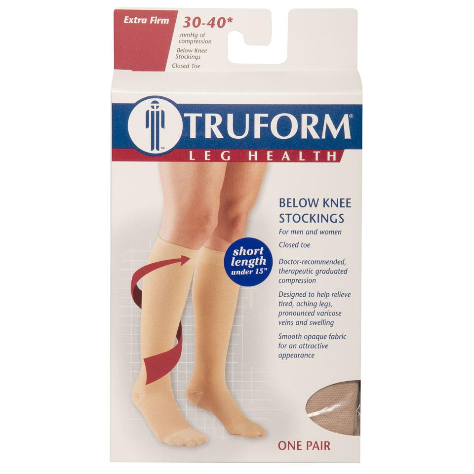 Truform, 8845s, 30-40 mmHg, Knee High, Soft Top, Closed Toe, Short Length, Package