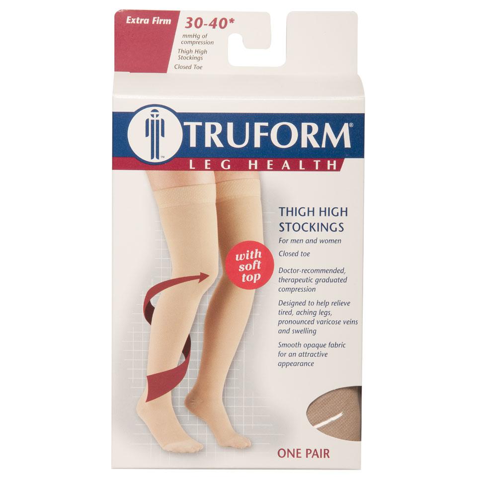 Truform, 8846, 30-40 mmHg, Thigh High, Soft-Top, Closed Toe, Package
