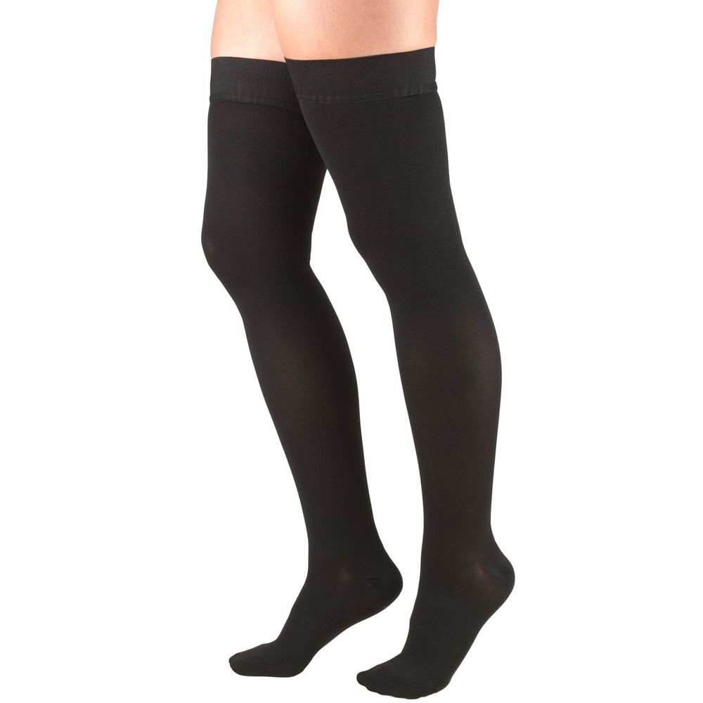 Truform, 8848, 30-40 mmHg, Thigh High, Silicone Dot Top, Closed Toe, Black