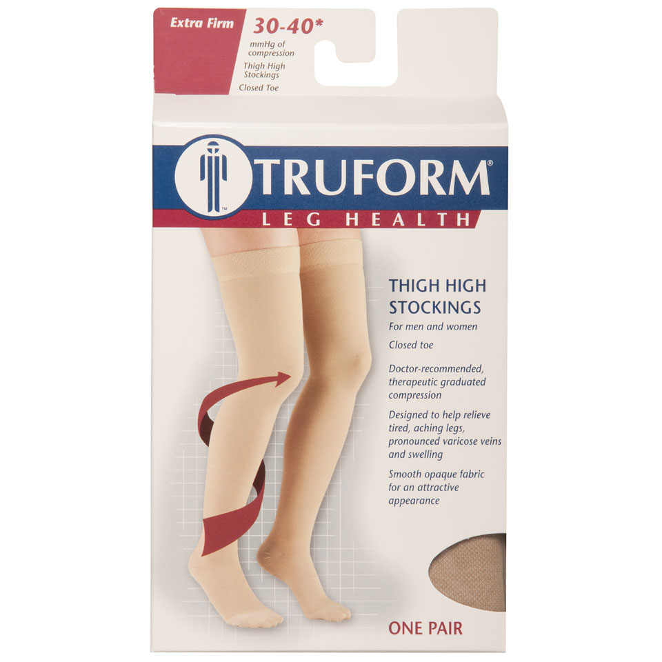 Truform, 8848, 30-40 mmHg, Thigh High, Silicone Dot Top, Closed Toe, Package